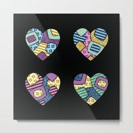 patchwork hearts Metal Print