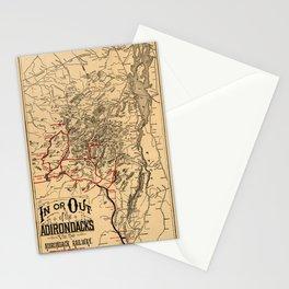 Map Of The Adirondacks 1890 Stationery Cards