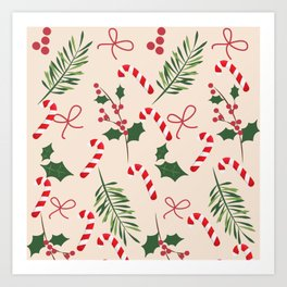 Peppermint Winter Holiday Candy Cane  Art Print