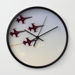 Turkish acrobatic aviation squadron flying over Izmir (Turkey) Wall Clock