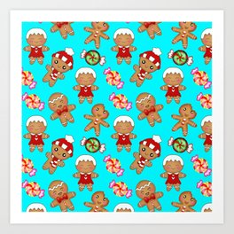 Cute seamless pattern. Happy festive gingerbread men and sweet xmas caramel chocolate candy Art Print