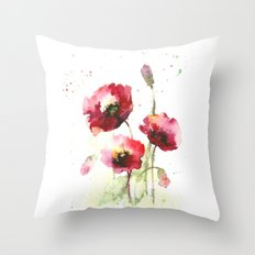 Watercolor flowers of poppy Throw Pillow
