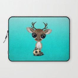 Cute Baby Reindeer With Football Soccer Ball Laptop Sleeve