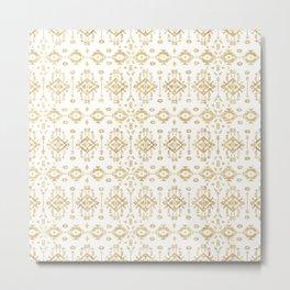 Luxury gold geometric tribal Aztec pattern Metal Print