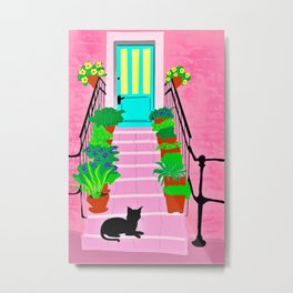 Pink house with  black cat Metal Print