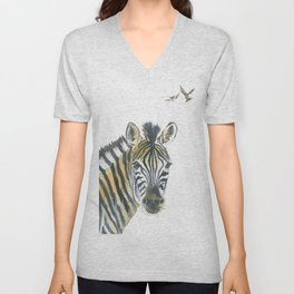 Zebra and Birds Unisex V-Neck
