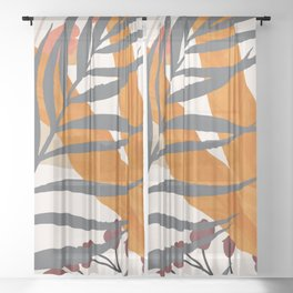 Colorful Red Leaves Sheer Curtain