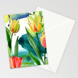 Yellow tulips. Floral botanical flower. Wild spring leaf wildflower i Stationery Cards