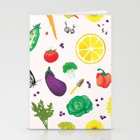 vegetables Stationery Cards featuring Delicious Vegetables by Viola Brun Designs