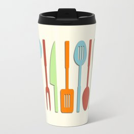 Kitchen Utensil Colored Silhouettes on Cream II Travel Mug