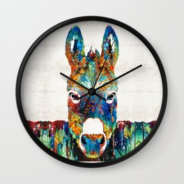 Colorful Donkey Art - Mr. Personality - By Sharon Cummings Wall Clock