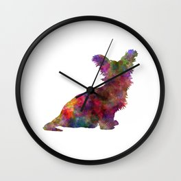 Skye Terrier 02 in watercolor Wall Clock
