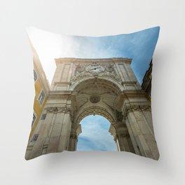 Arco da Rua Augusta in Lisbon, Portugal Throw Pillow