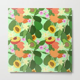 Avocado + Peach Stone Fruit Floral in Mint Green Metal Print