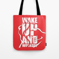 workout Tote Bags featuring Lab No.4 - Wake Up And Workout Inspirational Quotes poster by Lab No. 4