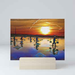 Sunset Over The Paddie Fields | Oil Painting  Mini Art Print