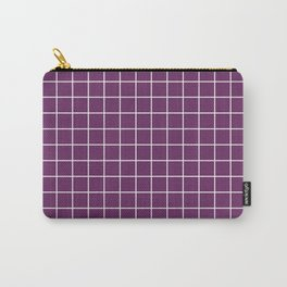 Palatinate purple - violet color - White Lines Grid Pattern Carry-All Pouch