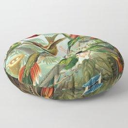 Ruby-throated Hummingbirds & Hummingbirds of the World Rainforest Garden Still Life painting Floor Pillow