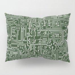 Circuit Board // Green & Silver Pillow Sham