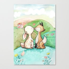 Rabbit and fox Canvas Print