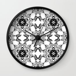 Monochrome, black and white pattern. Wall Clock