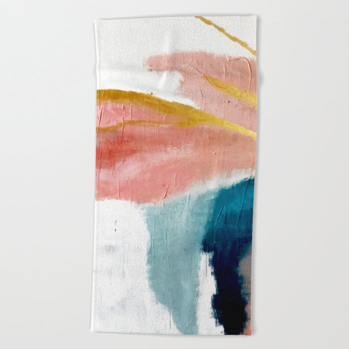 Exhale: a pretty, minimal, acrylic piece in pinks, blues, and gold Beach Towel