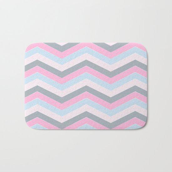 Different pastel colors pink blue grey-chevron-herringbone pattern Bath Mat