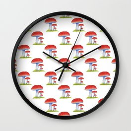 Toadstool Pattern Wall Clock