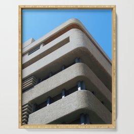 modern architecture - brutalist corner blue sky Serving Tray