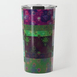 Lotus flower green and maroon stitched patchwork - woodblock print style pattern Travel Mug