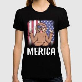 Merica Sloth USA American Flag T-shirt