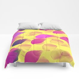 Pink Leaves on a Summery Yellow Comforters