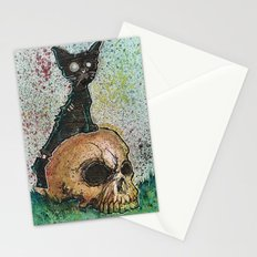 Black Cat with a Skull Stationery Cards