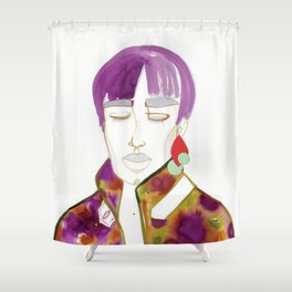 Cory with Winter Coat Shower Curtain
