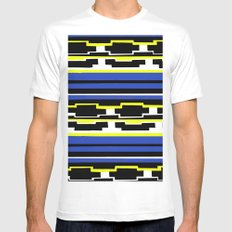 Blue Mexican Pattern MEDIUM Mens Fitted Tee White