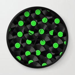 Vinyl Records Pattern (Green) Wall Clock