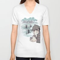 221b V-neck T-shirts featuring 221B Baker Street by enerjax