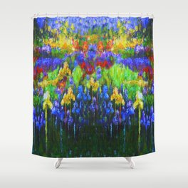 BLUE YELLOW IRIS GREEN GARDEN PAINTING Shower Curtain