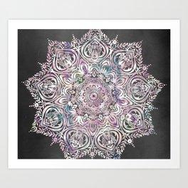 Dreams Mandala - Magical Purple on Gray Art Print