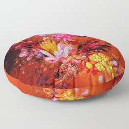 Passion Fruits and Flowers Floor Pillow