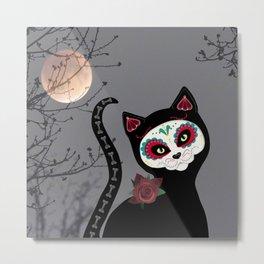 Sugar Skull Black Cat Metal Print
