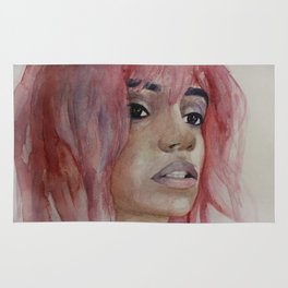 Girl with pink hair. Watercolor art Rug