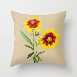 Tickseed Botanical Throw Pillow