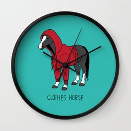 Clothes Horse Red Wall Clock