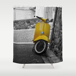 Yellow Vespa in Old Town Cannes Black and White Photography Shower Curtain
