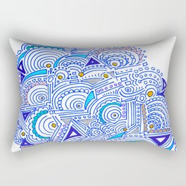 Panic Pattern Blue Abstract Ink Line Drawing Rectangular Pillow