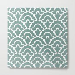 Fan Pattern Green Metal Print