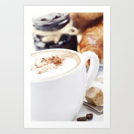Breakfast with coffee, croissants and jam Art Print