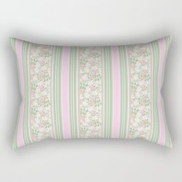 Pink Dogroses on Taupe in Stripes Rectangular Pillow