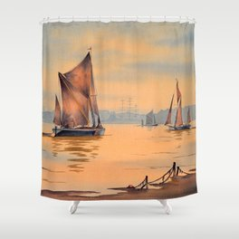 Barges On The River Thames Greenwich London Shower Curtain
